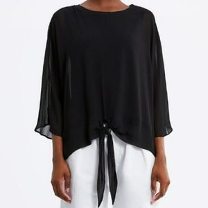 Zara Black Blouse w/ Front Knot